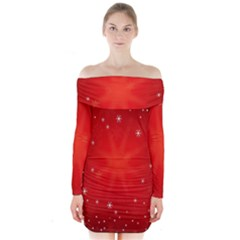 Red Holiday Background Red Abstract With Star Long Sleeve Off Shoulder Dress