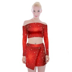 Red Holiday Background Red Abstract With Star Off Shoulder Top With Skirt Set
