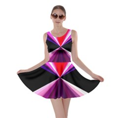 Red And Purple Triangles Abstract Pattern Background Skater Dress