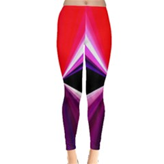Red And Purple Triangles Abstract Pattern Background Leggings