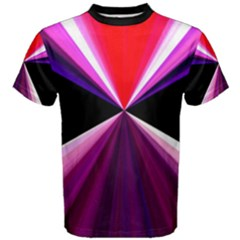 Red And Purple Triangles Abstract Pattern Background Men s Cotton Tee