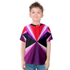 Red And Purple Triangles Abstract Pattern Background Kids  Cotton Tee