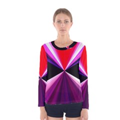 Red And Purple Triangles Abstract Pattern Background Women s Long Sleeve Tee