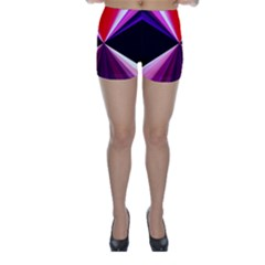 Red And Purple Triangles Abstract Pattern Background Skinny Shorts