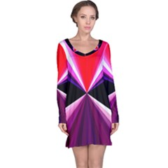 Red And Purple Triangles Abstract Pattern Background Long Sleeve Nightdress