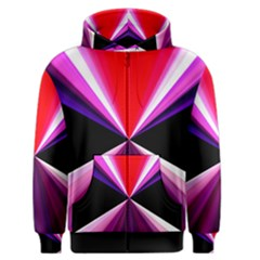 Red And Purple Triangles Abstract Pattern Background Men s Zipper Hoodie