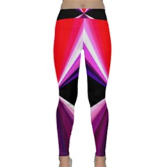 Red And Purple Triangles Abstract Pattern Background Classic Yoga Leggings