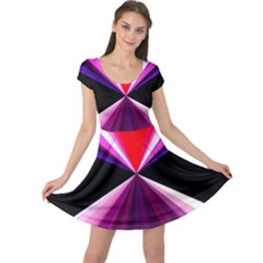 Red And Purple Triangles Abstract Pattern Background Cap Sleeve Dresses
