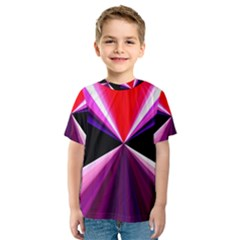 Red And Purple Triangles Abstract Pattern Background Kids  Sport Mesh Tee