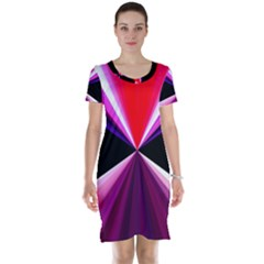Red And Purple Triangles Abstract Pattern Background Short Sleeve Nightdress