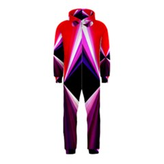 Red And Purple Triangles Abstract Pattern Background Hooded Jumpsuit (Kids)