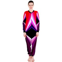 Red And Purple Triangles Abstract Pattern Background Onepiece Jumpsuit (ladies)