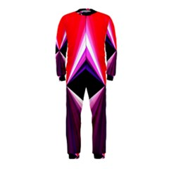 Red And Purple Triangles Abstract Pattern Background OnePiece Jumpsuit (Kids)