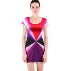 Red And Purple Triangles Abstract Pattern Background Short Sleeve Bodycon Dress