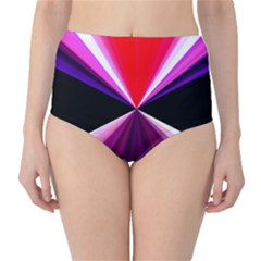 Red And Purple Triangles Abstract Pattern Background High Waist Bikini Bottoms