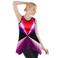 Red And Purple Triangles Abstract Pattern Background Side Drop Tank Tunic
