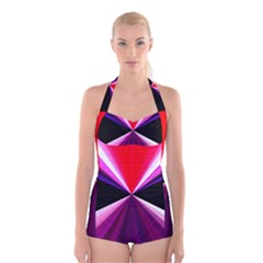 Red And Purple Triangles Abstract Pattern Background Boyleg Halter Swimsuit