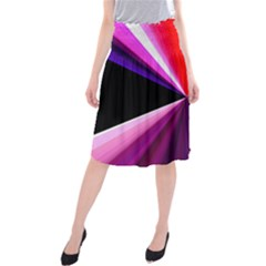 Red And Purple Triangles Abstract Pattern Background Midi Beach Skirt