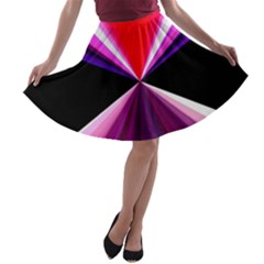 Red And Purple Triangles Abstract Pattern Background A-line Skater Skirt
