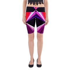 Red And Purple Triangles Abstract Pattern Background Yoga Cropped Leggings