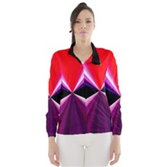 Red And Purple Triangles Abstract Pattern Background Wind Breaker (women)