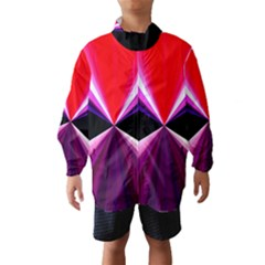 Red And Purple Triangles Abstract Pattern Background Wind Breaker (Kids)
