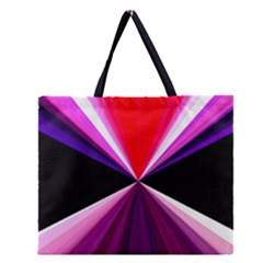 Red And Purple Triangles Abstract Pattern Background Zipper Large Tote Bag
