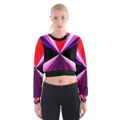 Red And Purple Triangles Abstract Pattern Background Women s Cropped Sweatshirt