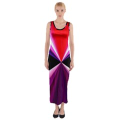 Red And Purple Triangles Abstract Pattern Background Fitted Maxi Dress