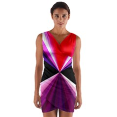 Red And Purple Triangles Abstract Pattern Background Wrap Front Bodycon Dress