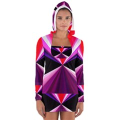 Red And Purple Triangles Abstract Pattern Background Women s Long Sleeve Hooded T-shirt