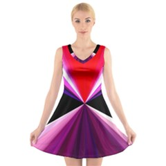 Red And Purple Triangles Abstract Pattern Background V Neck Sleeveless Skater Dress