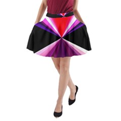 Red And Purple Triangles Abstract Pattern Background A-Line Pocket Skirt