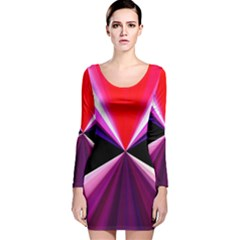 Red And Purple Triangles Abstract Pattern Background Long Sleeve Velvet Bodycon Dress
