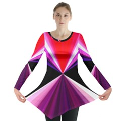 Red And Purple Triangles Abstract Pattern Background Long Sleeve Tunic