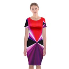 Red And Purple Triangles Abstract Pattern Background Classic Short Sleeve Midi Dress