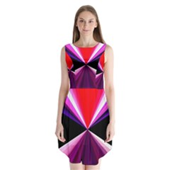 Red And Purple Triangles Abstract Pattern Background Sleeveless Chiffon Dress