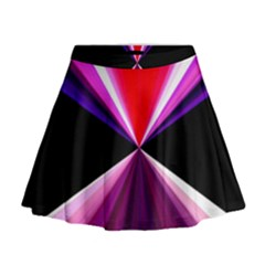 Red And Purple Triangles Abstract Pattern Background Mini Flare Skirt