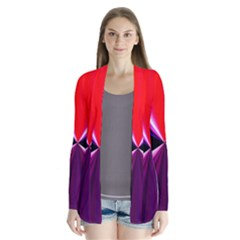 Red And Purple Triangles Abstract Pattern Background Cardigans