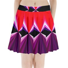 Red And Purple Triangles Abstract Pattern Background Pleated Mini Skirt