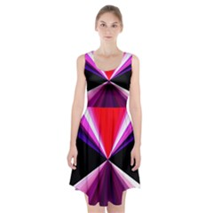 Red And Purple Triangles Abstract Pattern Background Racerback Midi Dress