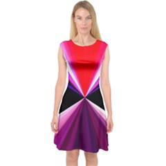 Red And Purple Triangles Abstract Pattern Background Capsleeve Midi Dress