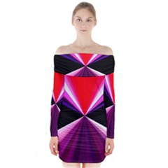 Red And Purple Triangles Abstract Pattern Background Long Sleeve Off Shoulder Dress