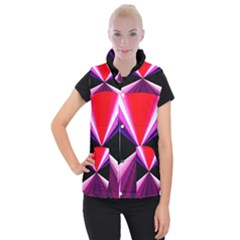 Red And Purple Triangles Abstract Pattern Background Women s Button Up Puffer Vest