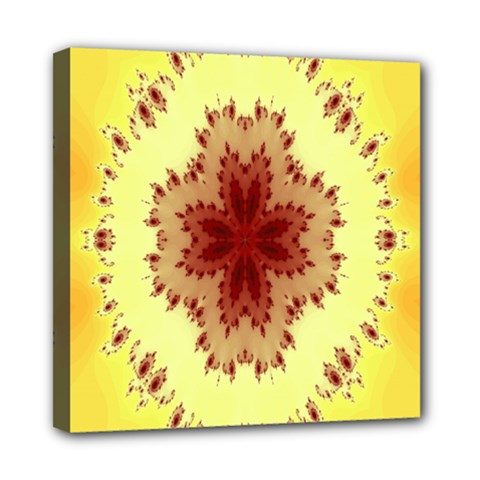 Yellow Digital Kaleidoskope Computer Graphic Mini Canvas 8  X 8