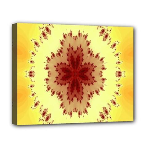 Yellow Digital Kaleidoskope Computer Graphic Deluxe Canvas 20  X 16
