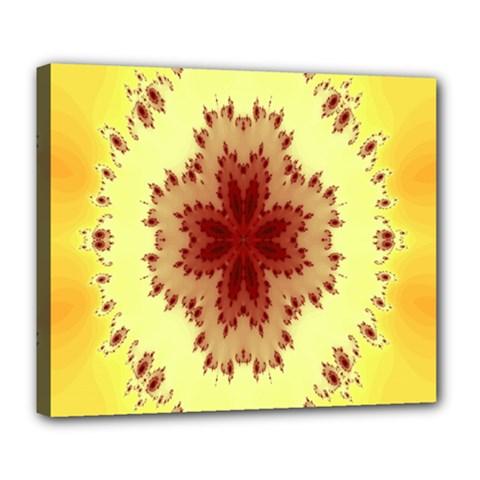 Yellow Digital Kaleidoskope Computer Graphic Deluxe Canvas 24  x 20