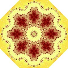 Yellow Digital Kaleidoskope Computer Graphic Hook Handle Umbrellas (Medium)