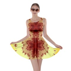 Yellow Digital Kaleidoskope Computer Graphic Skater Dress