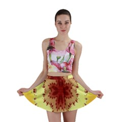 Yellow Digital Kaleidoskope Computer Graphic Mini Skirt